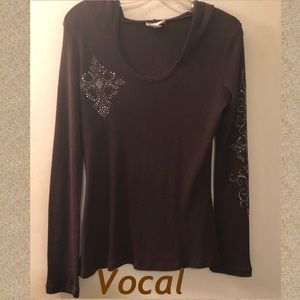 Vocal Embellished Hoodie Top XL